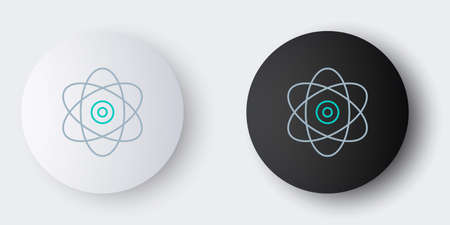 Line Atom icon isolated on grey background. Symbol of science, education, nuclear physics, scientific research. Electrons and protons sign. Colorful outline concept. Vector Ilustrace