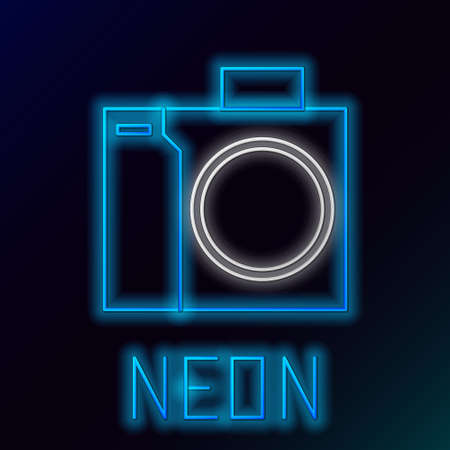 Glowing neon line Photo camera for diver icon isolated on black background. Foto camera icon. Diving underwater equipment. Colorful outline concept. Vector