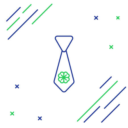 Line Tie with four leaf clover icon isolated on white background. Necktie and neckcloth symbol. Happy Saint Patricks day. Colorful outline concept. Vector