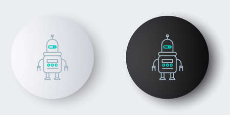 Line Robot icon isolated on grey background. Colorful outline concept. Vector