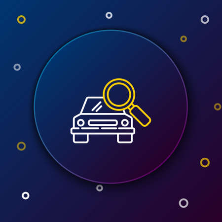 Line Car search icon isolated on blue background. Magnifying glass with car. Colorful outline concept. Vector