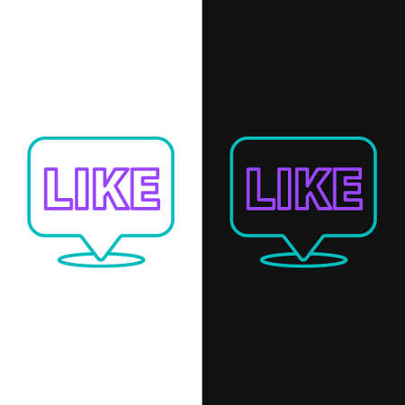 Line Like in speech bubble icon isolated on white and black background. Counter Notification Icon. Follower Insta. Colorful outline concept. Vector