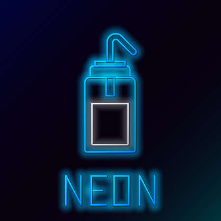 Glowing neon line Laboratory wash bottle for chemistry and science lab icon isolated on black background. Equipment for spraying water and solvents. Colorful outline concept. Vector Ilustrace