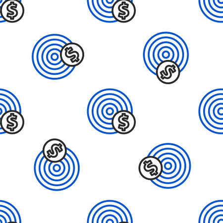 Line Target with dollar symbol icon isolated seamless pattern on white background. Investment target icon. Successful business concept. Cash or Money. Colorful outline concept. Vector