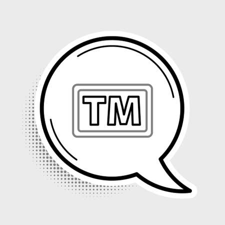 Line Trademark icon isolated on grey background. Abbreviation of TM. Colorful outline concept. Vector