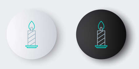 Line Burning candle in candlestick icon isolated on grey background. Cylindrical candle stick with burning flame. Colorful outline concept. Vector Ilustracja