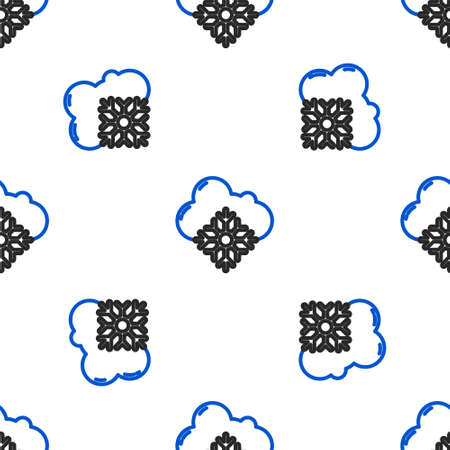 Line Cloud with snow icon isolated seamless pattern on white background. Cloud with snowflakes. Single weather icon. Snowing sign. Colorful outline concept. Vector Vettoriali