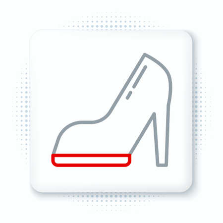 Line Woman shoe with high heel icon isolated on white background. Colorful outline concept. Vector