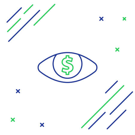 Line Eye with dollar icon isolated on white background. Colorful outline concept. Vector