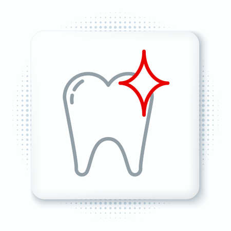Line Tooth whitening concept icon isolated on white background. Tooth symbol for dentistry clinic or dentist medical center. Colorful outline concept. Vector
