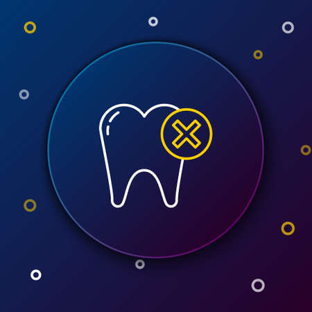 Line Tooth with caries icon isolated on blue background. Tooth decay. Colorful outline concept. Vector