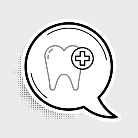Line Tooth icon isolated on grey background. Tooth symbol for dentistry clinic or dentist medical center and toothpaste package. Colorful outline concept. Vector 矢量图像