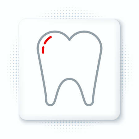Line Tooth icon isolated on white background. Tooth symbol for dentistry clinic or dentist medical center and toothpaste package. Colorful outline concept. Vector