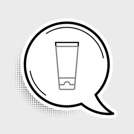 Line Cream or lotion cosmetic tube icon isolated on grey background. Body care products for men. Colorful outline concept. Vector