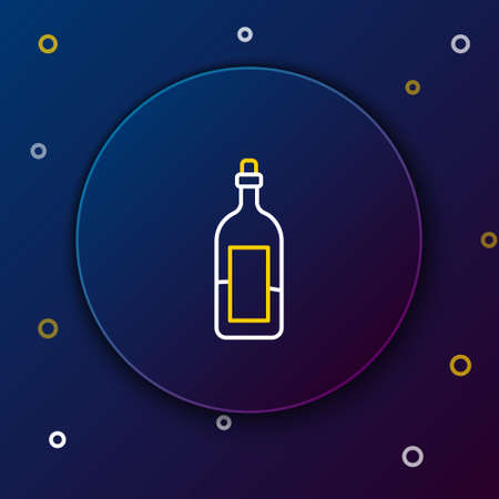 Line Bottle of wine icon isolated on blue background. Colorful outline concept. Vector