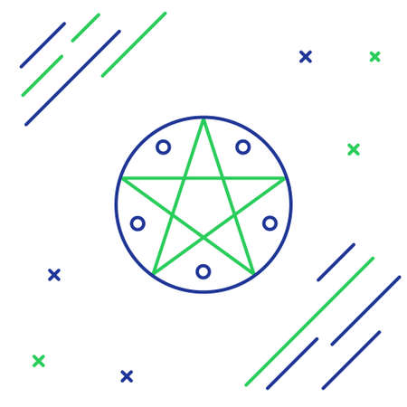 Line Pentagram in a circle icon isolated on white background. Magic occult star symbol. Colorful outline concept. Vector