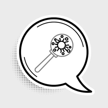 Line Virus under magnifying glass icon isolated on grey background. Corona virus 2019-nCoV. Bacteria and germs, microbe, fungi. Colorful outline concept. Vector