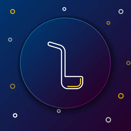 Line Kitchen ladle icon isolated on blue background. Cooking utensil. Cutlery spoon sign. Colorful outline concept. Vector