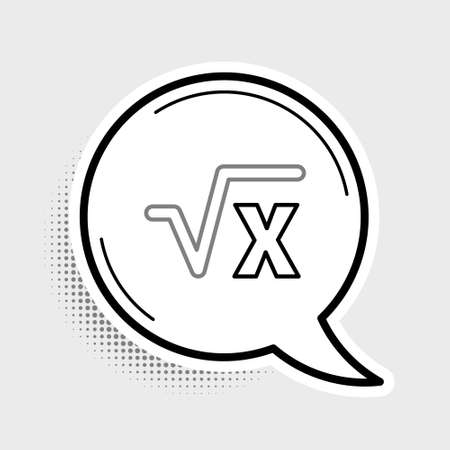 Line Square root of x glyph icon isolated on grey background. Mathematical expression. Colorful outline concept. Vector