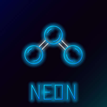 Glowing neon line Molecule icon isolated on black background. Structure of molecules in chemistry, science teachers innovative educational poster. Colorful outline concept. Vector