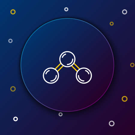 Line Molecule icon isolated on blue background. Structure of molecules in chemistry, science teachers innovative educational poster. Colorful outline concept. Vector