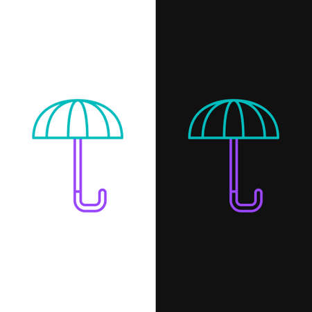 Line Classic elegant opened umbrella icon isolated on white and black background. Rain protection symbol. Colorful outline concept. Vector