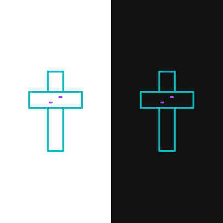 Line Christian cross icon isolated on white and black background. Church cross. Colorful outline concept. Vector Ilustrace