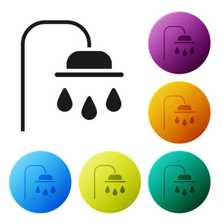 Black Shower head with water drops flowing icon isolated on white background. Set icons in color circle buttons. Vector Illustration
