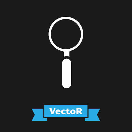 White Magnifying glass icon isolated on black background. Search, focus, zoom, business symbol. Vector Illustration 矢量图像