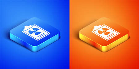 Isometric Radiation warning document icon isolated on blue and orange background. Text file. Square button. Vector