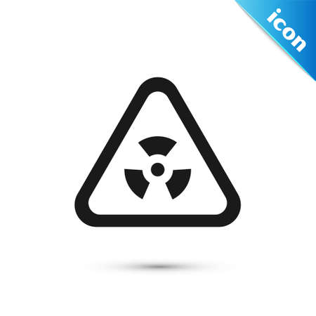 Grey Triangle sign with radiation symbol icon isolated on white background. Vector