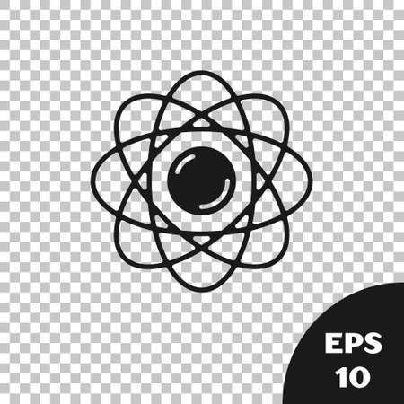 Black Atom icon isolated on transparent background. Symbol of science, education, nuclear physics, scientific research. Vector