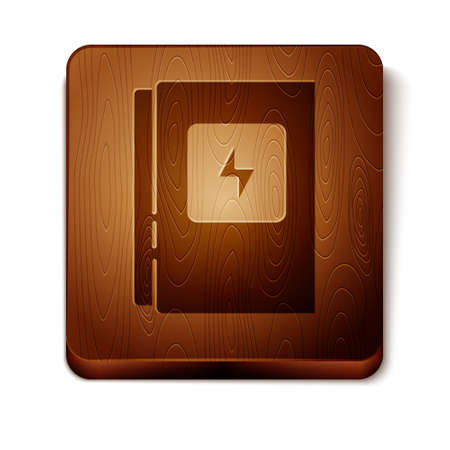 Brown Electrical panel icon isolated on white background. Wooden square button. Vector