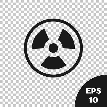 Black Radioactive icon isolated on transparent background. Radioactive toxic symbol. Radiation Hazard sign. Vector