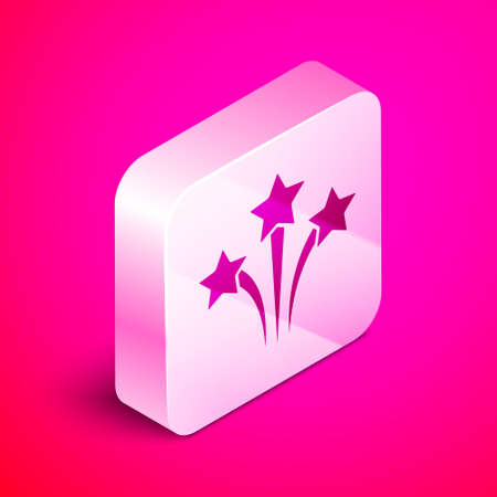 Isometric Firework icon isolated on pink background. Concept of fun party. Explosive pyrotechnic symbol. Silver square button. Vector 向量圖像