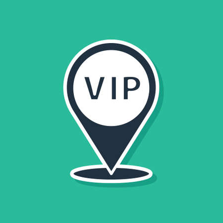 Blue Location Vip icon isolated on green background. Vector Vettoriali
