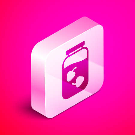 Isometric Strawberry jam jar icon isolated on pink background. Silver square button. Vector