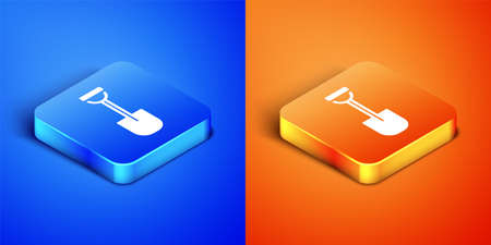 Isometric Shovel icon isolated on blue and orange background. Gardening tool. Tool for horticulture, agriculture, farming. Square button. Vector