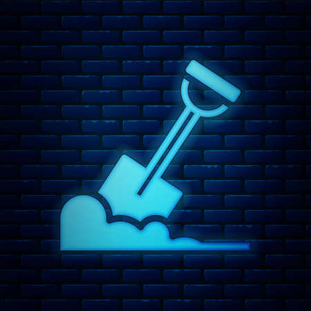 Glowing neon Shovel in the ground icon isolated on brick wall background. Gardening tool. Tool for horticulture, agriculture, farming. Vector Ilustracja
