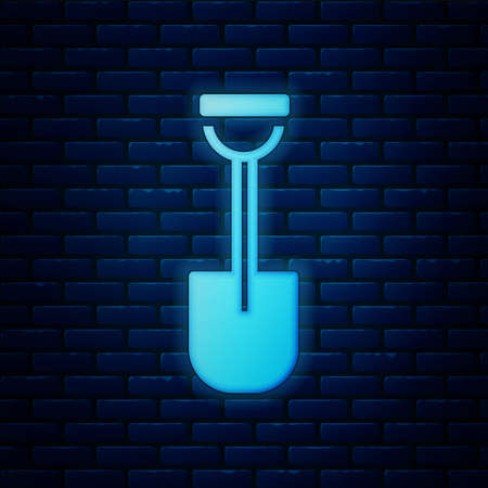 Glowing neon Shovel icon isolated on brick wall background. Gardening tool. Tool for horticulture, agriculture, farming. Vector Ilustracja