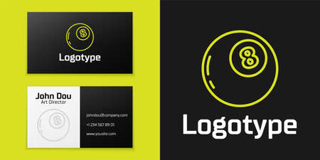 line Magic ball of predictions for decision-making icon isolated on black background. Crystal ball. design template element. Vector Illustration