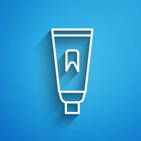 White line Tube of toothpaste icon isolated on blue background. Long shadow. Vector Illustration