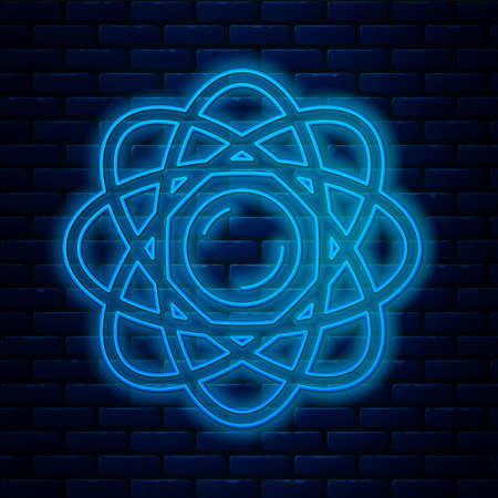 Glowing neon line Atom icon isolated on brick wall background. Symbol of science, education, nuclear physics, scientific research. Vector Ilustrace