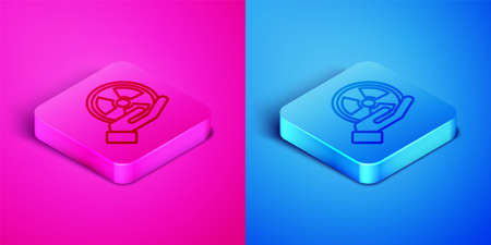Isometric line Radioactive in hand icon isolated on pink and blue background. Radioactive toxic symbol. Radiation Hazard sign. Square button. Vector