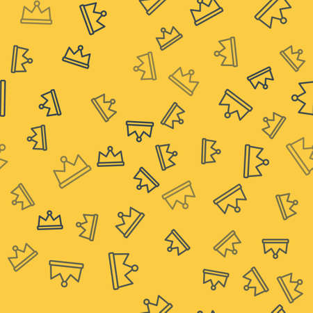 Blue line Crown icon isolated seamless pattern on yellow background. Vector