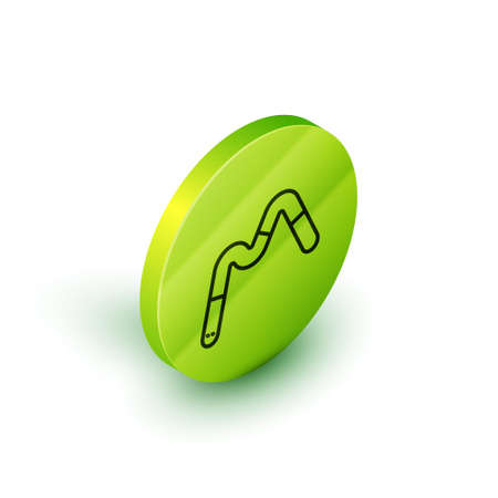 Isometric line Jelly worms candy icon isolated on white background. Green circle button. Vector