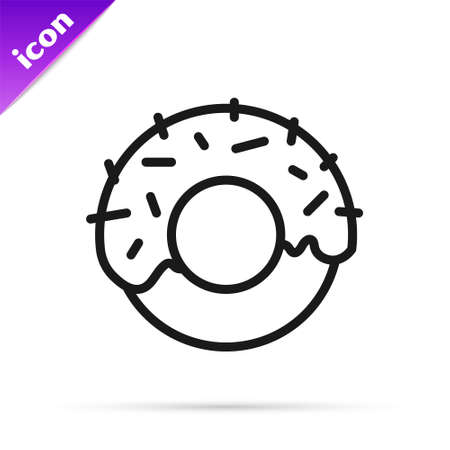 Black line Donut with sweet glaze icon isolated on white background. Vector 向量圖像