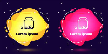 Set line Glass jar with candies inside icon isolated on blue background. Abstract banner with liquid shapes. Vector