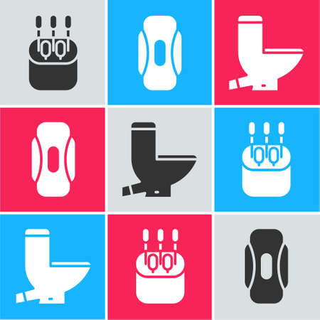 Set Cotton swab for ears, Sanitary napkin and Toilet bowl icon. Vector