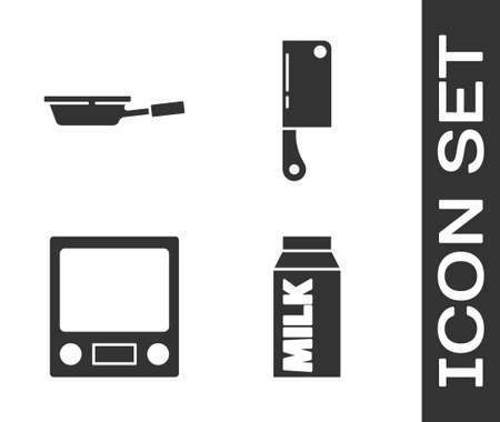 Set Paper package for milk, Frying pan, Electronic scales and Meat chopper icon. Vector Vettoriali